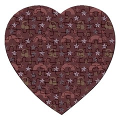 Music Stars Brown Jigsaw Puzzle (heart) by snowwhitegirl