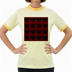 Cupcake Blood Red Black Women s Fitted Ringer T Shirts by snowwhitegirl