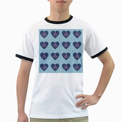 Cupcake Heart Teal Blue Ringer T Shirts by snowwhitegirl