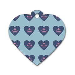 Cupcake Heart Teal Blue Dog Tag Heart (one Side) by snowwhitegirl