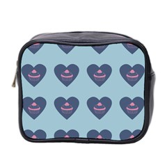 Cupcake Heart Teal Blue Mini Toiletries Bag 2 Side by snowwhitegirl