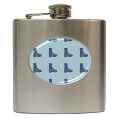 Deer Boots Teal Blue Hip Flask (6 Oz) by snowwhitegirl