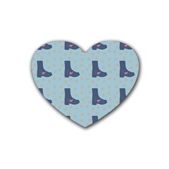 Deer Boots Teal Blue Heart Coaster (4 Pack)  by snowwhitegirl