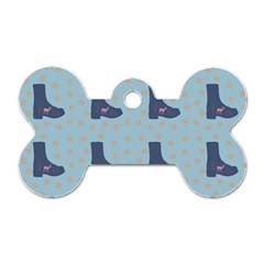 Deer Boots Teal Blue Dog Tag Bone (one Side) by snowwhitegirl