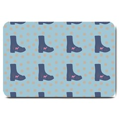 Deer Boots Teal Blue Large Doormat  by snowwhitegirl