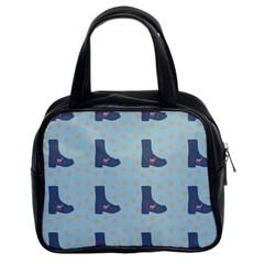 Deer Boots Teal Blue Classic Handbags (2 Sides) by snowwhitegirl