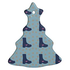 Deer Boots Teal Blue Christmas Tree Ornament (two Sides) by snowwhitegirl