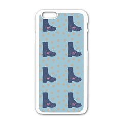Deer Boots Teal Blue Apple Iphone 6/6s White Enamel Case by snowwhitegirl