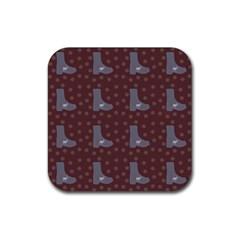 Deer Boots Brown Rubber Square Coaster (4 Pack)  by snowwhitegirl