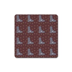 Deer Boots Brown Square Magnet