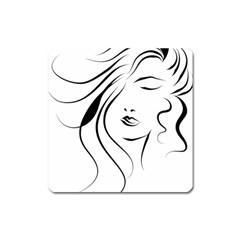 Womans Face Line Square Magnet by Jojostore