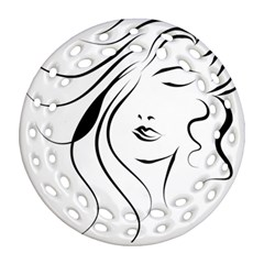 Womans Face Line Round Filigree Ornament (two Sides) by Jojostore
