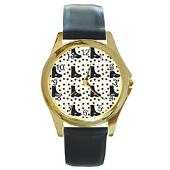 Deer Boots White Black Round Gold Metal Watch by snowwhitegirl