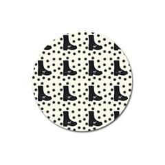Deer Boots White Black Magnet 3  (round) by snowwhitegirl