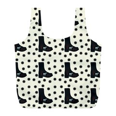 Deer Boots White Black Full Print Recycle Bags (l)  by snowwhitegirl