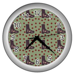 Deer Boots Green Wall Clocks (silver)  by snowwhitegirl