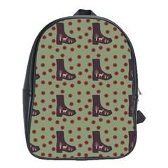 Deer Boots Green School Bag (xl) by snowwhitegirl