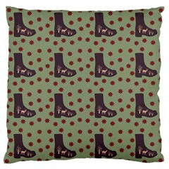 Deer Boots Green Large Flano Cushion Case (two Sides) by snowwhitegirl