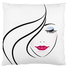 Makeup Face Girl Sweet Large Flano Cushion Case (one Side)