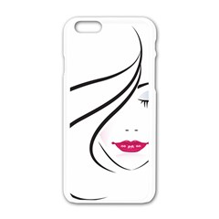 Makeup Face Girl Sweet Apple Iphone 6/6s White Enamel Case by Mariart