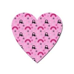 Music Stars Rose Pink Heart Magnet by snowwhitegirl