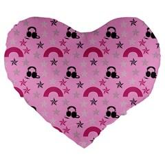 Music Stars Rose Pink Large 19  Premium Flano Heart Shape Cushions by snowwhitegirl