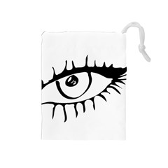 Drawn Eye Transparent Monster Big Drawstring Pouches (medium)