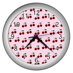 Pink Cherries Wall Clocks (silver)  by snowwhitegirl