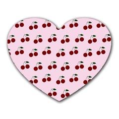 Pink Cherries Heart Mousepads by snowwhitegirl