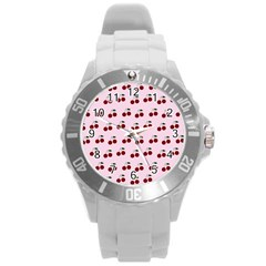 Pink Cherries Round Plastic Sport Watch (l) by snowwhitegirl