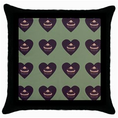 Cupcake Green Throw Pillow Case (black) by snowwhitegirl