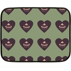 Cupcake Green Double Sided Fleece Blanket (mini)  by snowwhitegirl