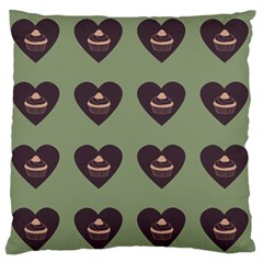 Cupcake Green Large Flano Cushion Case (two Sides) by snowwhitegirl