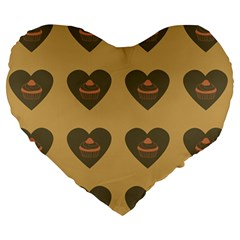 Cupcake Pumpkin Orange Grey Large 19  Premium Heart Shape Cushions by snowwhitegirl