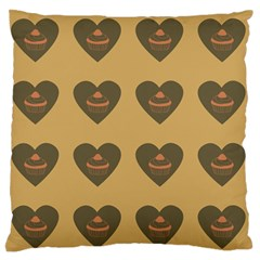 Cupcake Pumpkin Orange Grey Large Flano Cushion Case (one Side) by snowwhitegirl