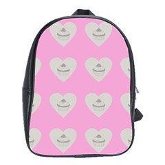 Cupcake Pink Grey School Bag (large)