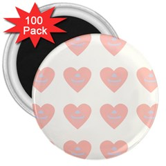 Cupcake White Pink 3  Magnets (100 Pack) by snowwhitegirl