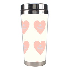Cupcake White Pink Stainless Steel Travel Tumblers by snowwhitegirl