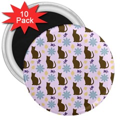 Outside Brown Cats 3  Magnets (10 Pack)