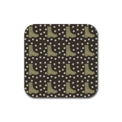 Charcoal Boots Rubber Square Coaster (4 Pack)  by snowwhitegirl