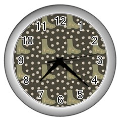 Charcoal Boots Wall Clocks (silver)  by snowwhitegirl