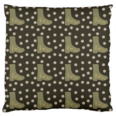 Charcoal Boots Large Flano Cushion Case (one Side) by snowwhitegirl