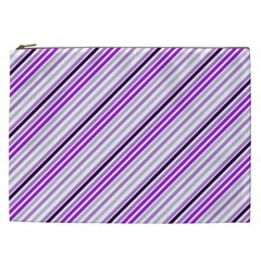 Purple Diagonal Lines Cosmetic Bag (xxl)  by snowwhitegirl