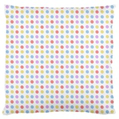 Blue Pink Yellow Eggs On White Large Cushion Case (one Side) by snowwhitegirl