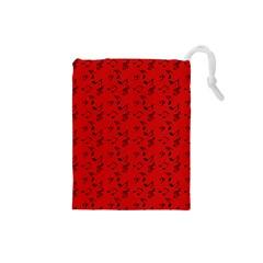 Red Music Drawstring Pouches (small)  by snowwhitegirl