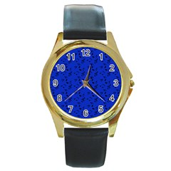 Royal Blue Music Round Gold Metal Watch by snowwhitegirl