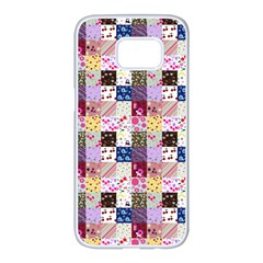 Quilt Of My Patterns Small Samsung Galaxy S7 Edge White Seamless Case by snowwhitegirl