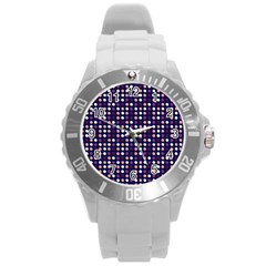 Peach Purple Eggs On Navy Blue Round Plastic Sport Watch (l) by snowwhitegirl