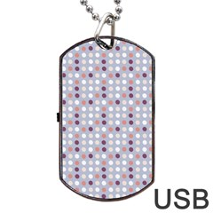 Pink Purple White Eggs On Lilac Dog Tag Usb Flash (one Side) by snowwhitegirl