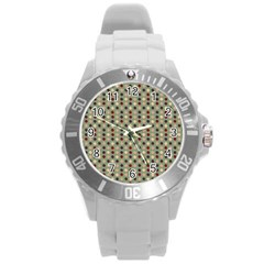 Grey Beige Burgundy Eggs On Green Round Plastic Sport Watch (l) by snowwhitegirl